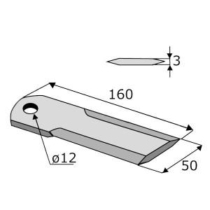 Contre-couteau KPAB 160x50x3 trou 12 lisse 2 faces DEUTZ FAHR Ref 16020245