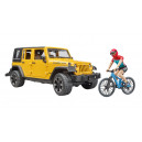 Jeep Wrangler Rubicon Unlimited avec VTT et cycliste