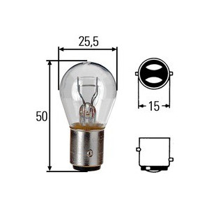 Ampoule feu clignotant Hella 12 V culot 21/5 W